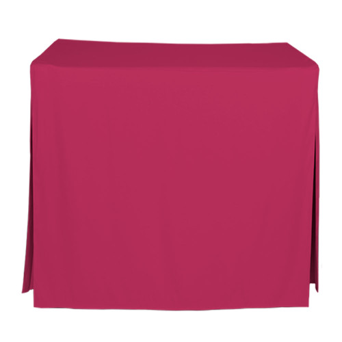 "Tablevogue is a fitted table cover or custom-sized table cloth. This fitted table cloth is a solid Fuchsia table cloth, or as we call it table cover, is designed to fit a standard 34-inch folding card table.  Made from 100% woven polyester 300 thread count fabric. Stitched edges create a custom look while to-the-floor coverage neatly disguises table legs. This table cloth cover makes outdoor entertaining and buffet style service a breeze!   Our custom fitted table cloth can be screen printed or embroidered to match your brand.  Dimensions: 29"" high x 34"" wide x 34"" long, fits a standard 34-inch folding card table.  Care Instructions: 100% Polyester, Machine wash warm, tumble dry low. Patented Soil-Release Feature allows laundering at 120 degree water temp (as opposed to 160 degrees) - reducing rejects, providing a longer shelf life, conserving energy, and saving money.   More Info: Tablevogue offers a variety of table cloths including a card table covers, round table covers, banquet table covers, square table covers and rectangle table covers. Tablevogue fitted table covers are made to fit standard folding tables."