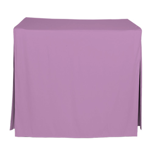 "Tablevogue is a fitted table cover or custom-sized table cloth. This fitted table cloth is a solid Lilac table cloth, or as we call it table cover, is designed to fit a standard 34-inch folding card table.  Made from 100% woven polyester 300 thread count fabric. Stitched edges create a custom look while to-the-floor coverage neatly disguises table legs. This table cloth cover makes outdoor entertaining and buffet style service a breeze!   Our custom fitted table cloth can be screen printed or embroidered to match your brand.  Dimensions: 29"" high x 34"" wide x 34"" long, fits a standard 34-inch folding card table.  Care Instructions: 100% Polyester, Machine wash warm, tumble dry low. Patented Soil-Release Feature allows laundering at 120 degree water temp (as opposed to 160 degrees) - reducing rejects, providing a longer shelf life, conserving energy, and saving money.   More Info: Tablevogue offers a variety of table cloths including a card table covers, round table covers, banquet table covers, square table covers and rectangle table covers. Tablevogue fitted table covers are made to fit standard folding tables."