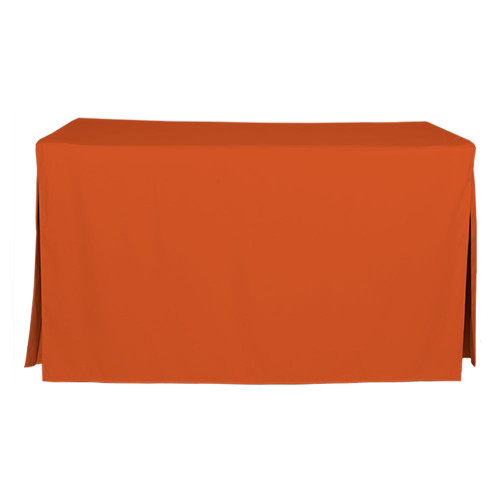 "Tablevogue is a fitted table cover or custom-sized table cloth. This fitted table cloth is a solid Orange table cloth, or as we call it table cover, is designed to fit a standard 5-foot folding table.  Great for tailgating if you root for Clemson, Tennessee, Cleveland and more.  Made from 100% woven polyester 300 thread count fabric. Stitched edges create a custom look while to-the-floor coverage neatly disguises table legs. This table cloth cover makes outdoor entertaining and buffet style service a breeze!   Our custom fitted table cloth can be screen-printed or embroidered to match your brand.  Dimensions: 29"" high x 30"" wide x 60"" long, fits a standard 5-foot folding table. *Please note that standard 5-foot folding tables may vary in size up to 2 inches, which will affect the way your new Tablevogue fitted cover hangs on the table.  Care Instructions: 100% Polyester, Machine wash warm, tumble dry low. Patented Soil-Release Feature allows laundering at 120-degree water temp (as opposed to 160-degrees) - reducing rejects, providing a longer shelf life, conserving energy, and saving money.   More Info: Tablevogue offers a variety of table cloths including a card table covers, round table covers, banquet table covers, square table covers and rectangle table covers. Tablevogue fitted table covers are made to fit standard folding tables."