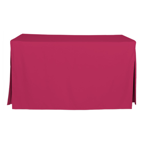 "Tablevogue is a fitted table cover or custom-sized table cloth. This fitted table cloth is a solid Fuchsia table cloth, or as we call it table cover, is designed to fit a standard 5-foot folding table.  Made from 100% woven polyester 300 thread count fabric. Stitched edges create a custom look while to-the-floor coverage neatly disguises table legs. This table cloth cover makes outdoor entertaining and buffet style service a breeze!   Our custom fitted table cloth can be screen-printed or embroidered to match your brand.  Dimensions: 29"" high x 30"" wide x 60"" long, fits a standard 5-foot folding table. *Please note that standard 5-foot folding tables may vary in size up to 2 inches, which will affect the way your new Tablevogue fitted cover hangs on the table.  Care Instructions: 100% Polyester, Machine wash warm, tumble dry low. Patented Soil-Release Feature allows laundering at 120-degree water temp (as opposed to 160-degrees) - reducing rejects, providing a longer shelf life, conserving energy, and saving money.   More Info: Tablevogue offers a variety of table cloths including a card table covers, round table covers, banquet table covers, square table covers and rectangle table covers. Tablevogue fitted table covers are made to fit standard folding tables."