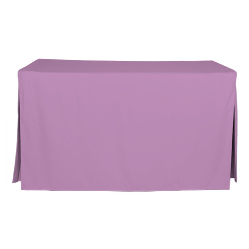 "Tablevogue is a fitted table cover or custom-sized table cloth. This fitted table cloth is a solid Lilac table cloth, or as we call it table cover, is designed to fit a standard 5-foot folding table.  Made from 100% woven polyester 300 thread count fabric. Stitched edges create a custom look while to-the-floor coverage neatly disguises table legs. This table cloth cover makes outdoor entertaining and buffet style service a breeze!   Our custom fitted table cloth can be screen-printed or embroidered to match your brand.  Dimensions: 29"" high x 30"" wide x 60"" long, fits a standard 5-foot folding table. *Please note that standard 5-foot folding tables may vary in size up to 2 inches, which will affect the way your new Tablevogue fitted cover hangs on the table.  Care Instructions: 100% Polyester, Machine wash warm, tumble dry low. Patented Soil-Release Feature allows laundering at 120-degree water temp (as opposed to 160-degrees) - reducing rejects, providing a longer shelf life, conserving energy, and saving money.   More Info: Tablevogue offers a variety of table cloths including a card table covers, round table covers, banquet table covers, square table covers and rectangle table covers. Tablevogue fitted table covers are made to fit standard folding tables."