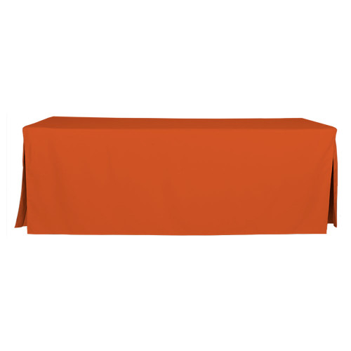 "Tablevogue is a fitted table cover or custom-sized table cloth. This fitted table cloth is a solid Orange table cloth, or as we call it table cover, is designed to fit a standard 8-foot folding table. Great for tailgating if you root for Clemson Tennessee Cleveland and more.  Made from 100% woven polyester 300 thread count fabric. Stitched edges create a custom look while to-the-floor coverage neatly disguises table legs. This table cloth cover makes outdoor entertaining and buffet style service a breeze!   Our custom fitted table cloth can be screen printed or embroidered to match your brand.  Dimensions: 29"" high x 30"" wide x 96"" long, fits a standard 8-foot folding table.  Care Instructions: 100% Polyester, Machine wash warm, tumble dry low. Patented Soil-Release Feature allows laundering at 120 degree water temp (as opposed to 160 degrees) - reducing rejects, providing a longer shelf life, conserving energy, and saving money.   More Info: Tablevogue offers a variety of table cloths including a card table covers, round table covers, banquet table covers, square table covers and rectangle table covers. Tablevogue fitted table covers are made to fit standard folding tables."
