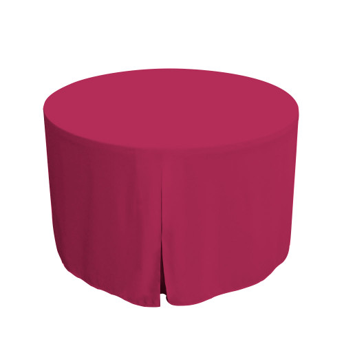 "Tablevogue is a fitted table cover or custom-sized table cloth. This fitted table cloth is a solid Fuchsia table cloth, or as we call it table cover, is designed to fit a standard 48-inch round folding table.  Made from 100% woven polyester 300 thread count fabric. Stitched edges create a custom look while to-the-floor coverage neatly disguises table legs. This table cloth cover makes outdoor entertaining and buffet style service a breeze!   Our custom fitted table cloth can be screen-printed or embroidered to match your brand.  Dimensions: 29"" high x 48"" diameter, fits a standard 48-inch round folding table.  Care Instructions: 100% Polyester, Machine wash warm, tumble dry low. Patented Soil-Release Feature allows laundering at 120-degree water temp (as opposed to 160-degrees) - reducing rejects, providing a longer shelf life, conserving energy, and saving money.   More Info: Tablevogue offers a variety of table cloths including a card table covers, round table covers, banquet table covers, square table covers and rectangle table covers. Tablevogue fitted table covers are made to fit standard folding tables."