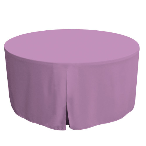 "Tablevogue is a fitted table cover or custom-sized table cloth. This fitted table cloth is a solid Lilac table cloth, or as we call it table cover, is designed to fit a standard 60-inch round folding table.   Made from 100% woven polyester 300 thread count fabric. Stitched edges create a custom look while to-the-floor coverage neatly disguises table legs. This table cloth cover makes outdoor entertaining and buffet style service a breeze!   Our custom fitted table cloth can be screen-printed or embroidered to match your brand.  Dimensions: 29"" high x 60"" diameter, fits a standard 60-inch round folding table.  Care Instructions: 100% Polyester, Machine wash warm, tumble dry low. Patented Soil-Release Feature allows laundering at 120-degree water temp (as opposed to 160-degrees) - reducing rejects, providing a longer shelf life, conserving energy, and saving money.   More Info: Tablevogue offers a variety of table cloths including a card table covers, round table covers, banquet table covers, square table covers and rectangle table covers. Tablevogue fitted table covers are made to fit standard folding tables."