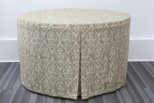 60-Inch Round Fitted Table Cover - Damask Caramel