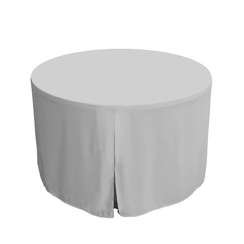 48-Inch Fitted Round Table Cover - White