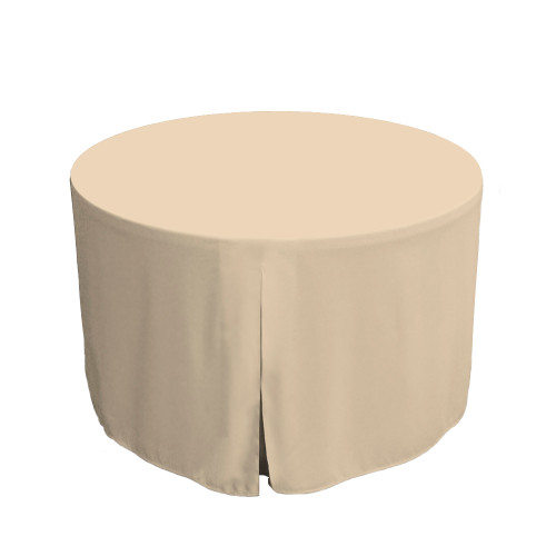 48-Inch Fitted Round Table Cover - Natural