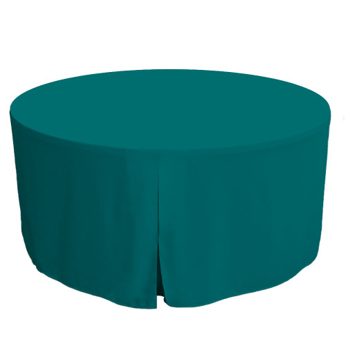 60-Inch Fitted Round Table Cover - Peacock