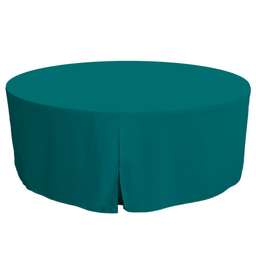 72-Inch Fitted Round Table Cover - Peacock