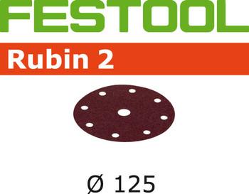 Festool Rubin 2   125 Round   180 Grit   Pack of 10 (499107)