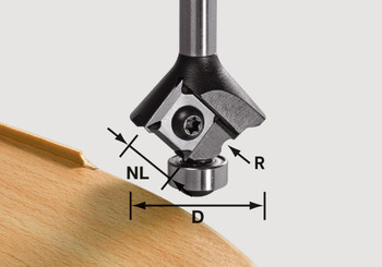 Festool Radius Router Bit 2 mm, 8mm Shank - 2 Pieces (500370)