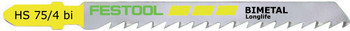 Festool HS75/4bi Fast-Cutting Jigsaw Blade, 3 Inch, 6 TPI, 5-pack (486553)