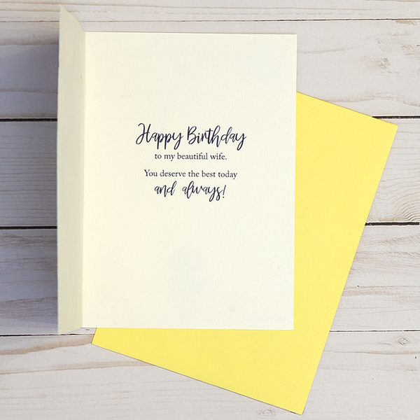 Happy Birthday card OCG1801 showing the inside verse and corresponding yellow envelope