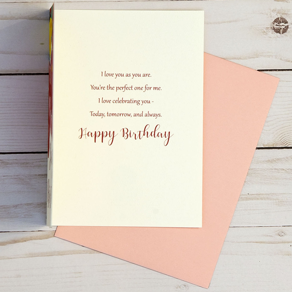 Happy Birthday card OCG1802 showing the inside verse and corresponding pink envelope