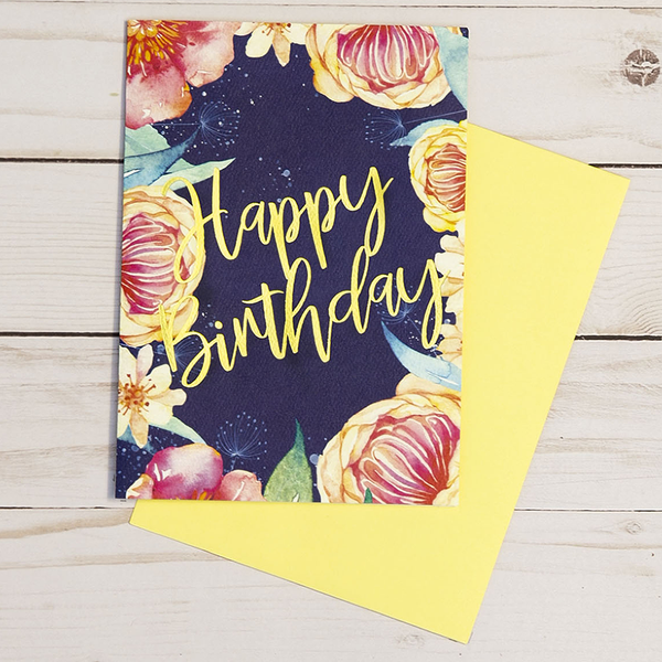 Happy Birthday card featuring gold foil elements and a navy blue background and colorful flowers - OCG1801
