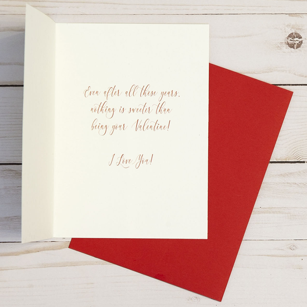 Valentine's Day card OCG1805 showing the inside verse and corresponding red envelope
