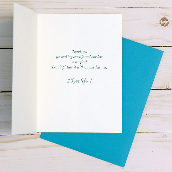 Happy Anniversary card OCG1804 showing the inside verse and corresponding teal envelope