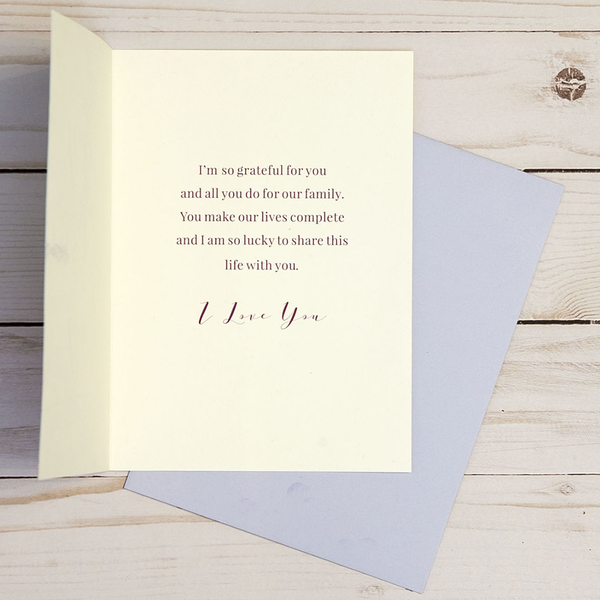 Mother's Day card OCG1807 showing the inside verse and corresponding pale purple envelope