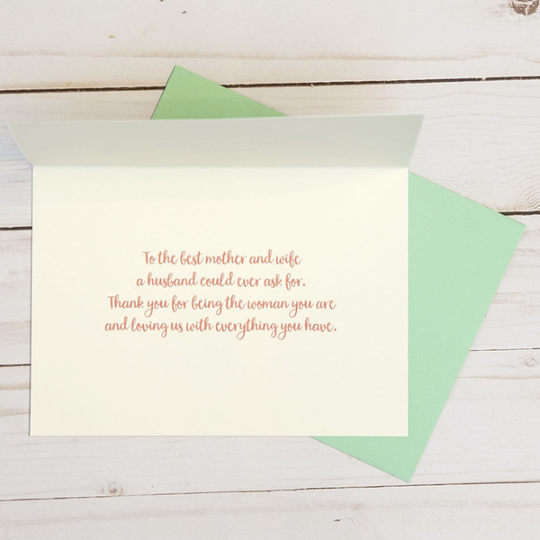 Mother's Day card OCG1808 showing the inside verse and corresponding pale green envelope