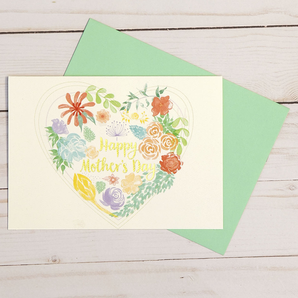 Mother's Day card featuring gold foil elements and a floral arrangement in a heart design - OCG1808
