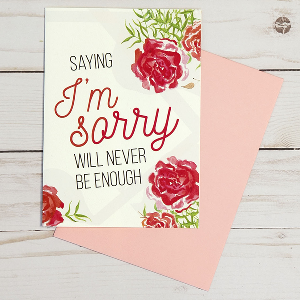 I'm Sorry card featuring red floral designs - OCG1810