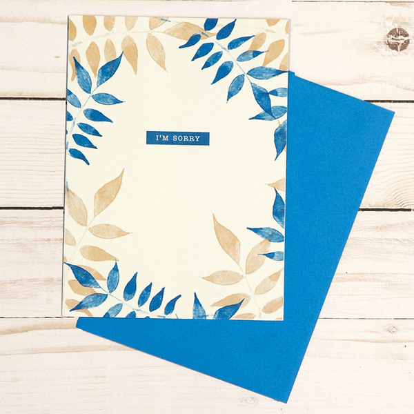 I'm Sorry card featuring blue and tan leaf design - OCG1809