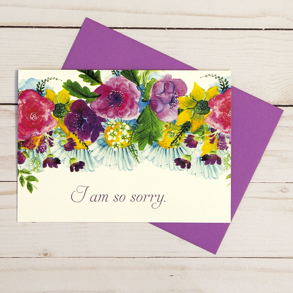 I'm Sorry card featuring colorful floral designs - OCG1812