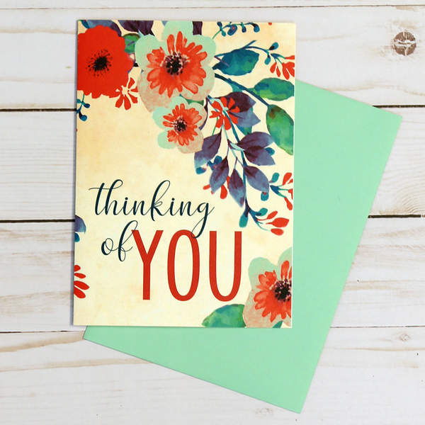 Thinking of You card featuring red and blue floral elements - OCG1814