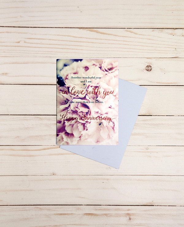 Happy Anniversary card featuring red foil elements and purple floral arrangements - OCG1803