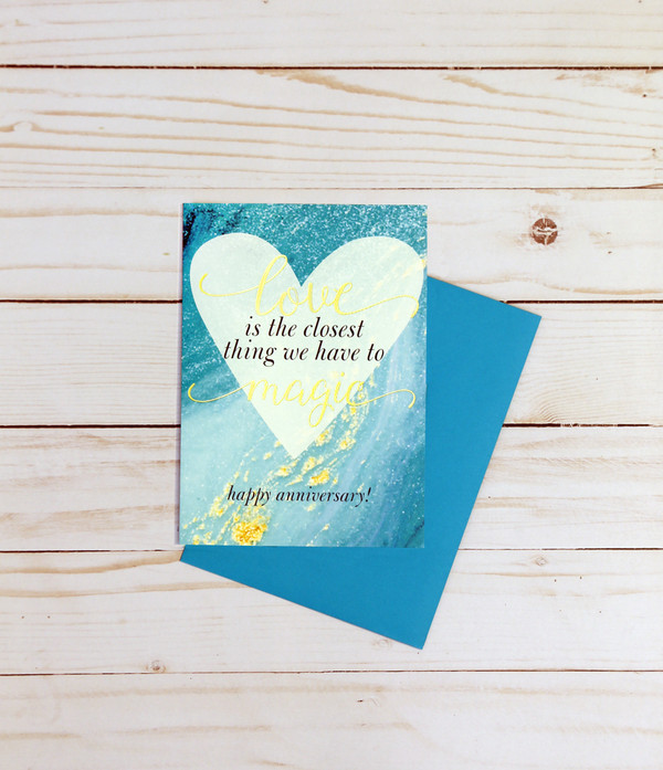 Happy Anniversary card featuring gold foil elements and teal and gold designs - OCG1804