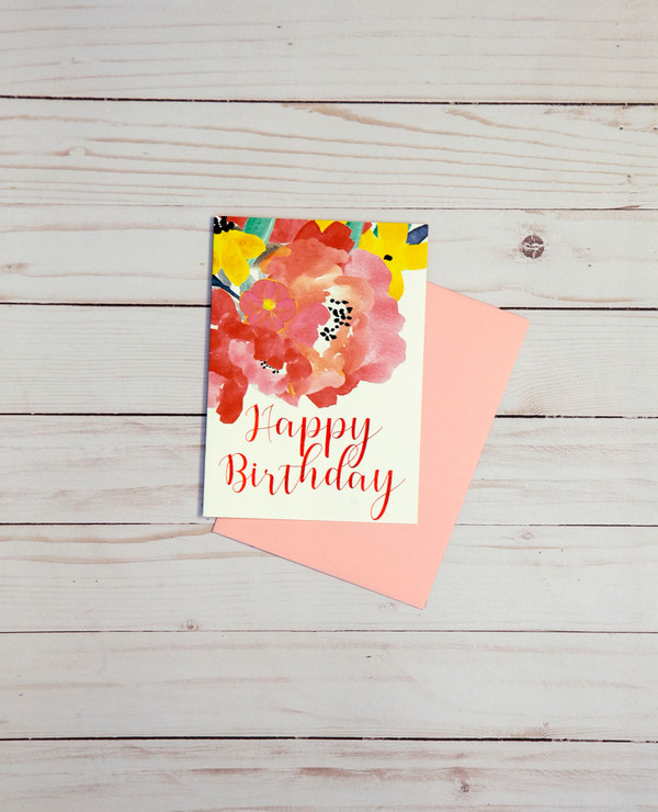 Happy Birthday card featuring red foil elements and colorful graphic design flowers - OCG1802