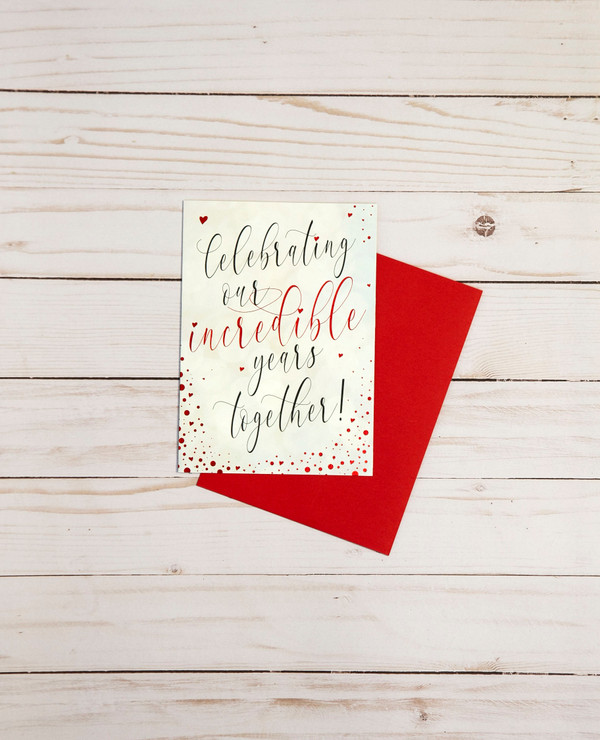 Valentine's Day card featuring red foil elements and heart designs - OCG1805