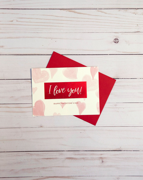 Valentine's Day card featuring red foil elements and pink heart designs - OCG1806