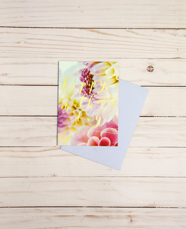 Mother's Day card featuring gold foil elements and pale floral designs - OCG1807