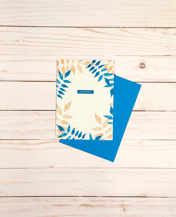 I'm Sorry card featuring a blue and tan leaf design - OCG1809