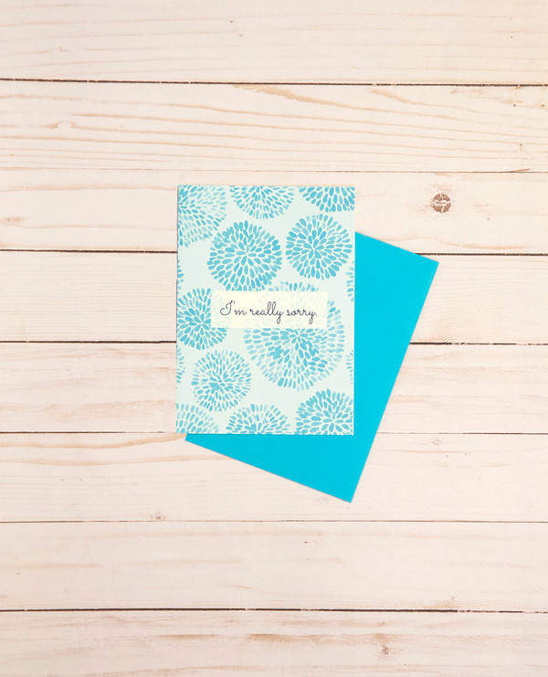 I'm Sorry card featuring sky blue floral graphic designs - OCG1811