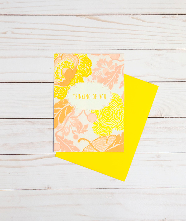 Thinking of You card featuring pink and yellow floral designs - OCG1813