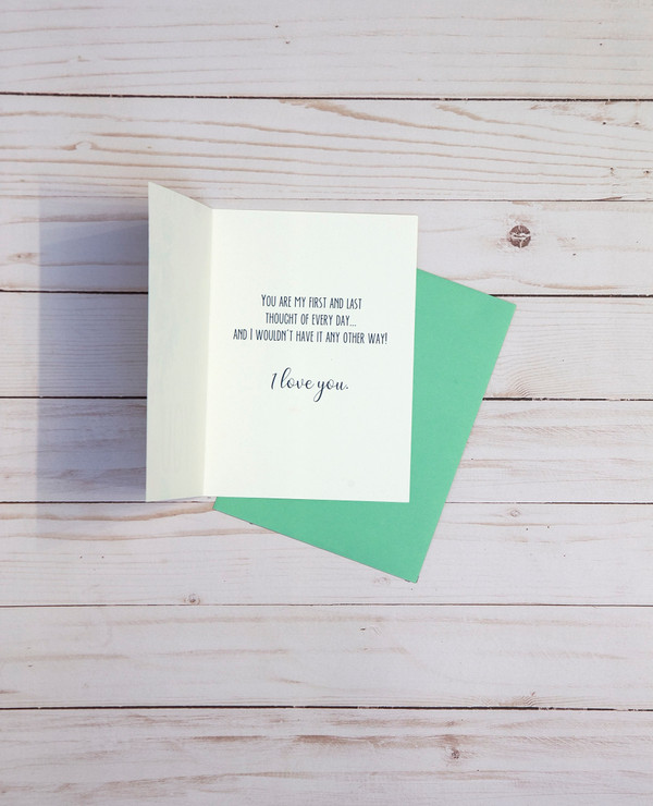 Thinking of You card OCG1814 showing the inside verse and corresponding pale green envelope