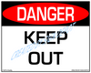 Danger, Keep Out Sign - Downloadable Product. Never Order Signs Again - Order, Download, Save, and Print as Needed.