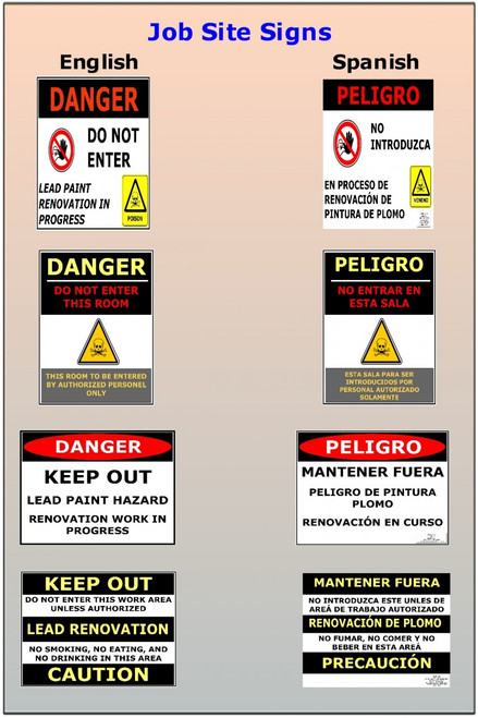 Job Site Signs, 4 signs in English & Spanish, Downloadble PDF signs.