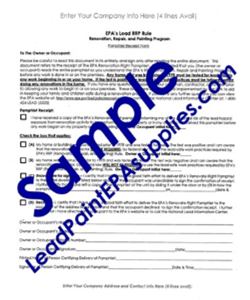 Pamphlet Receipt Form, English Version, Downloadable File