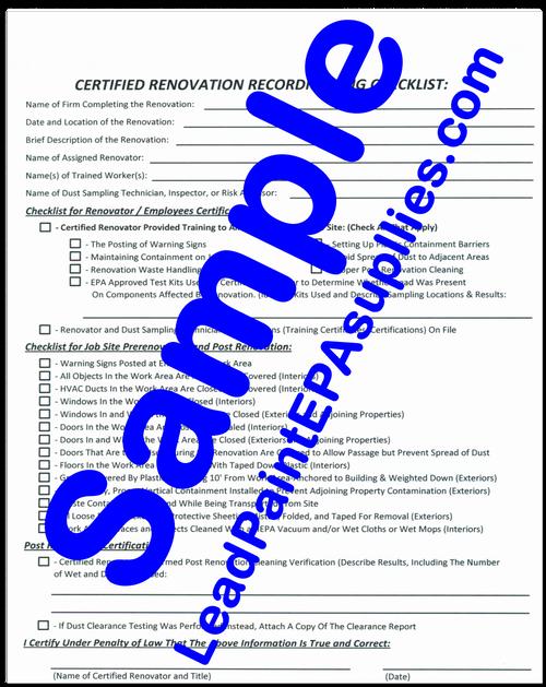 Renovation SIte Checklist Form, English, Download