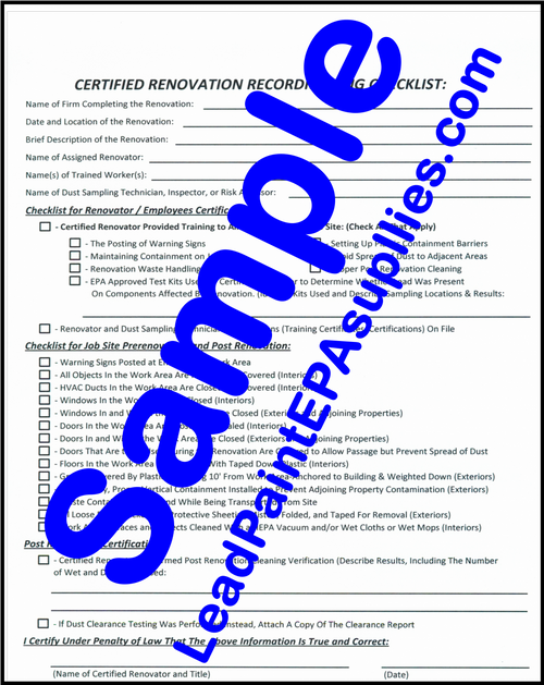 Renovation SIte Checklist Form, English, Download