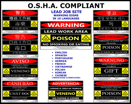 OSHA Compliant Lead Warning Site Sign In 10 Languages (Download)