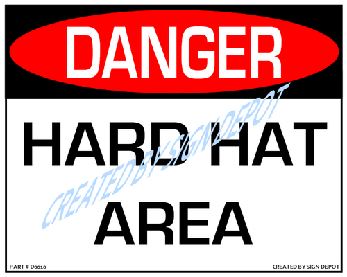 Danger, Hard Hat Area Sign - Downloadable Product. Never Order Signs Again - Order, Download, Save, and Print as Needed.