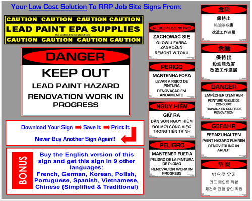 Danger, Keep Out, Lead Paint Hazard, Renovation Work In Progress - RRP Sign In 10 Languages - Downloadable Product. Never Order Signs Again - Order, Download, Save, and Print as Needed.