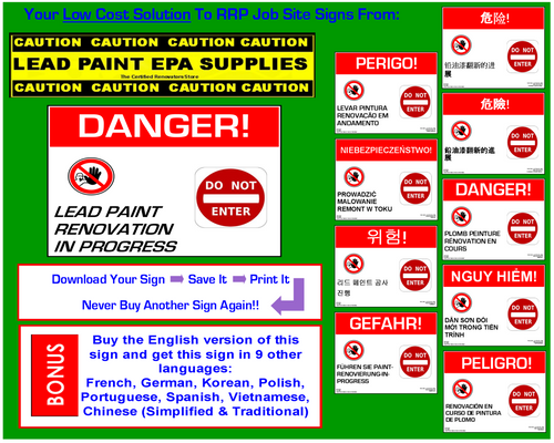 Danger, Lead Paint Renovation, Do Not Enter - RRP Sign In 10 Languages - Downloadable Product. Never Order Signs Again - Order, Download, Save, and Print as Needed.