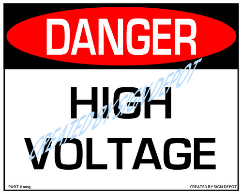 Danger, High Voltage Sign - Downloadable Product. Never Order Signs Again - Order, Download, Save, and Print as Needed.