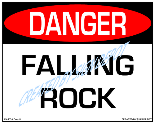 Danger, Falling Rock Sign - Downloadable Product. Never Order Signs Again - Order, Download, Save, and Print as Needed.