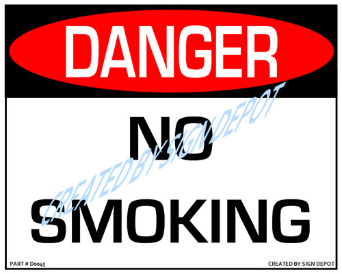 Danger, No Smoking Sign - Downloadable Product. Never Order Signs Again - Order, Download, Save, and Print as Needed.